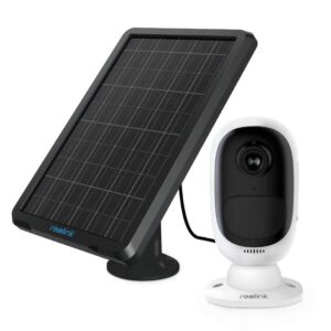 Überwachungskamera Argus 2 + Solarpanel, 1080p kabellose WLAN IP Kamera mit Batterie, 2-Wege-Audio und SD Kartenslot für Aussen/Innen, kostenlose App und PC-Client