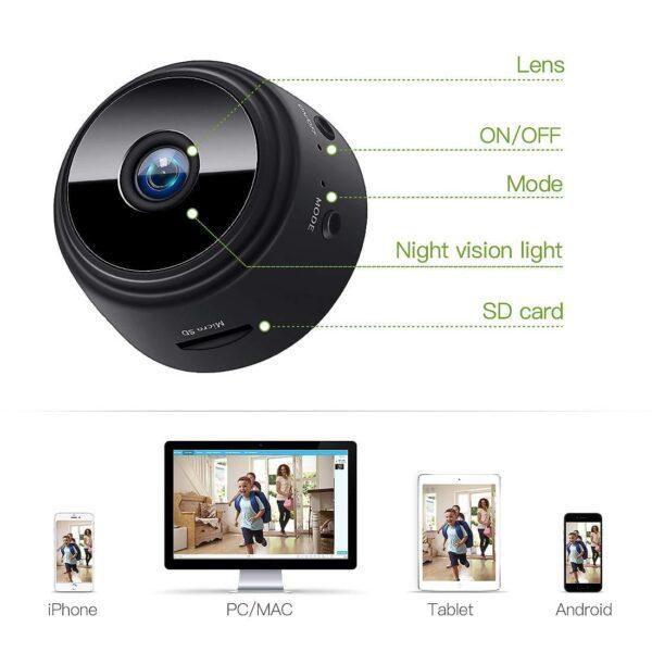 Mini Kamera, 1080P Full HD Wireless Überwachungskamera WiFi IP Kamera mit Bewegungmelder für iPhone/Android/iPad
