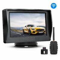 """Rückfahrkamera und Monitor Set BOSCAM K1 Wireless Einparkhilfe mit 14.4 cm/4.3"""" Zoll LCD Farbdisplay Rear View Monitor und IP68 wasserdichte Kamera für Auto, Bus, Schulbus, Anhänger"""