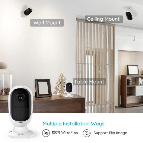 Überwachungskamera Aussen WLAN mit Akku, kabellose WiFi IP Kamera 1080p HD mit PIR-Bewegungsmelder, SD-Kartenslot, 2-Wege-Audio und Sternenlicht-Nachtsicht.