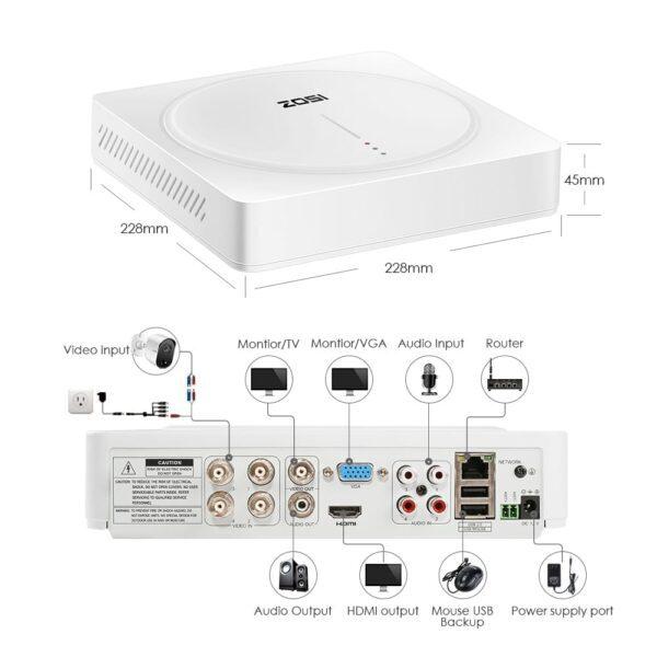 5.0MP Ultra HD DVR Überwachungssystem mit 4X PIR Sensor Überwachungskamera