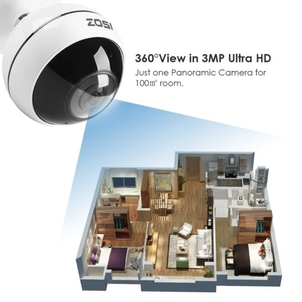 3MP Ultra HD Innen Wireless 360° Panorama Kamera WLAN Audio Video Überwachungskamera mit Halterung, Bewegung Alarm, Zwei-Wege-Audio, IR Nachtsicht, TF-Slot